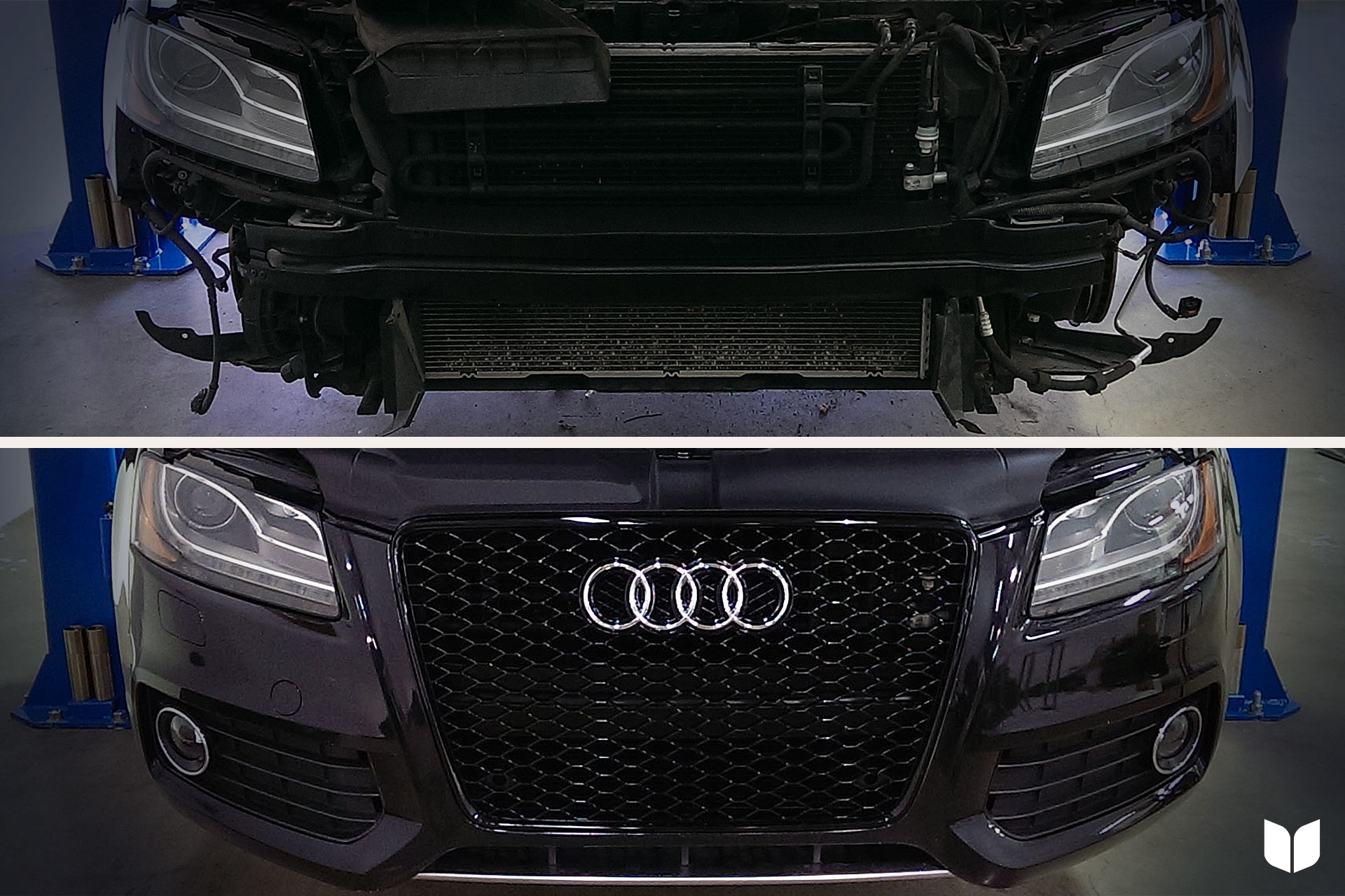 RS5 Grille & Painted Bumper Support